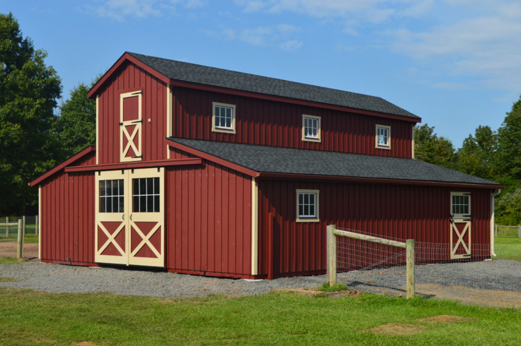 red large horse barn for sale