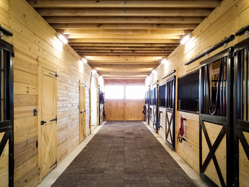 inside of a horse barn