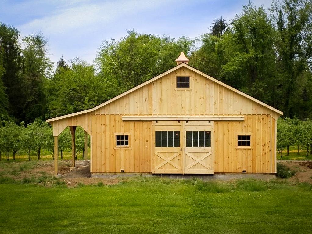 wooden modular horse barn