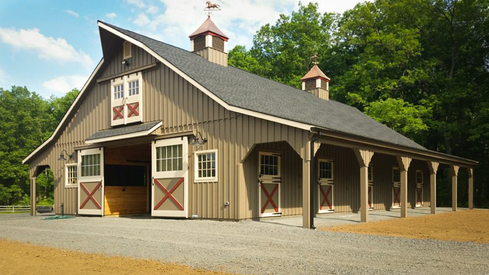 large horse barn from pine glade