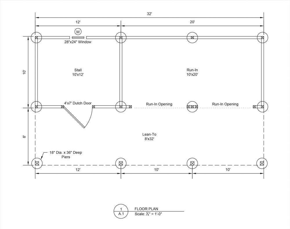 floor plan of prefab horse barns