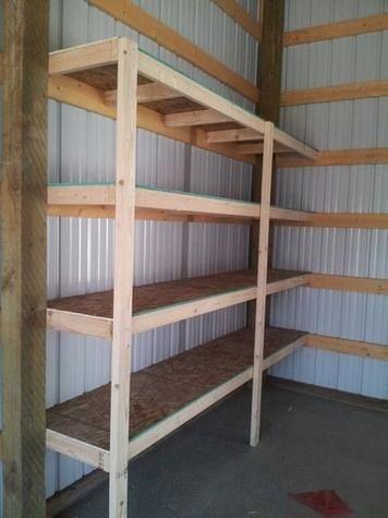 wood framed steel garage with shelves