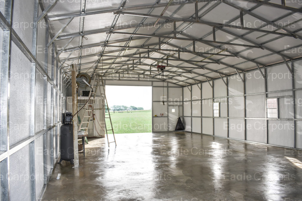 interior of metal carports