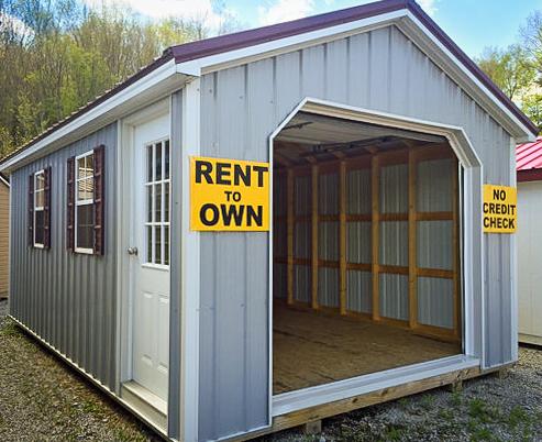rent to own single car prefab garage