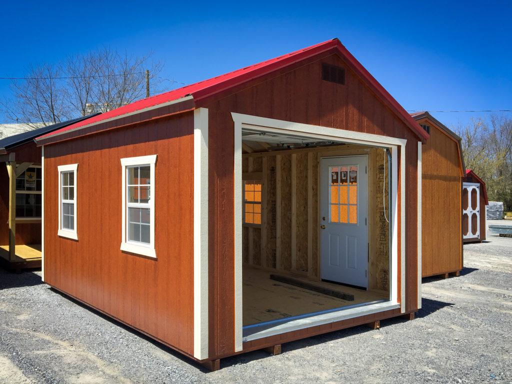 single car prefab garage with wood siding