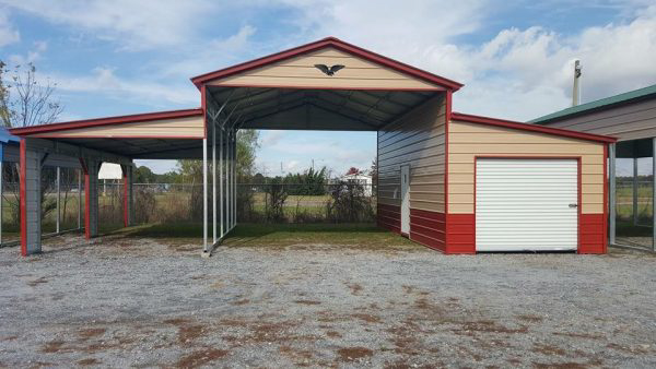 metal carport and prefab garage