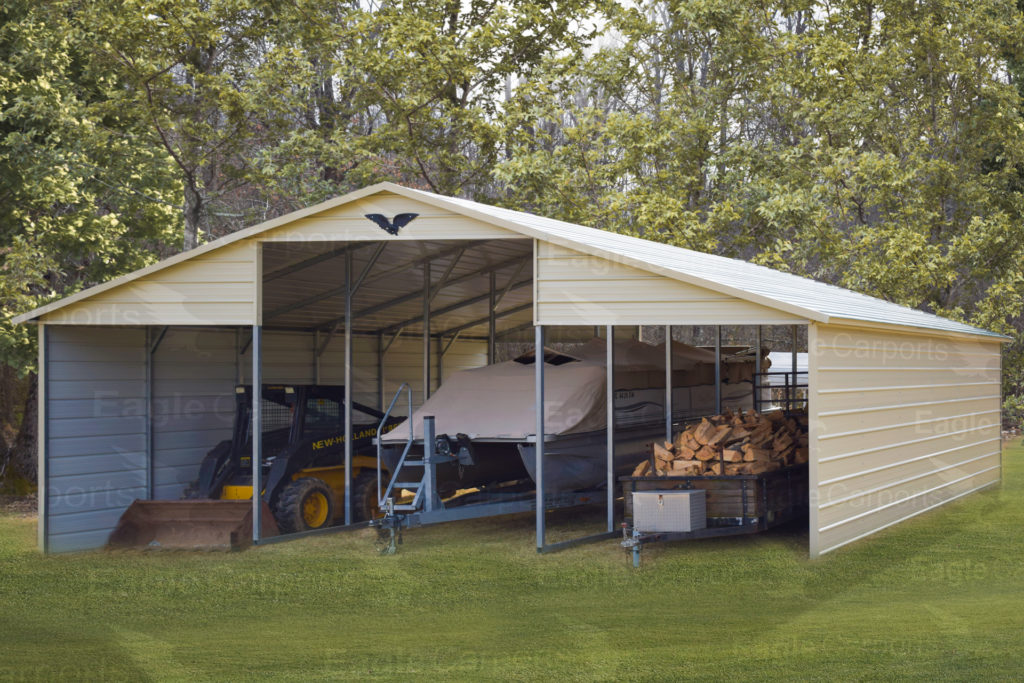 boat storage in portable garage and carport