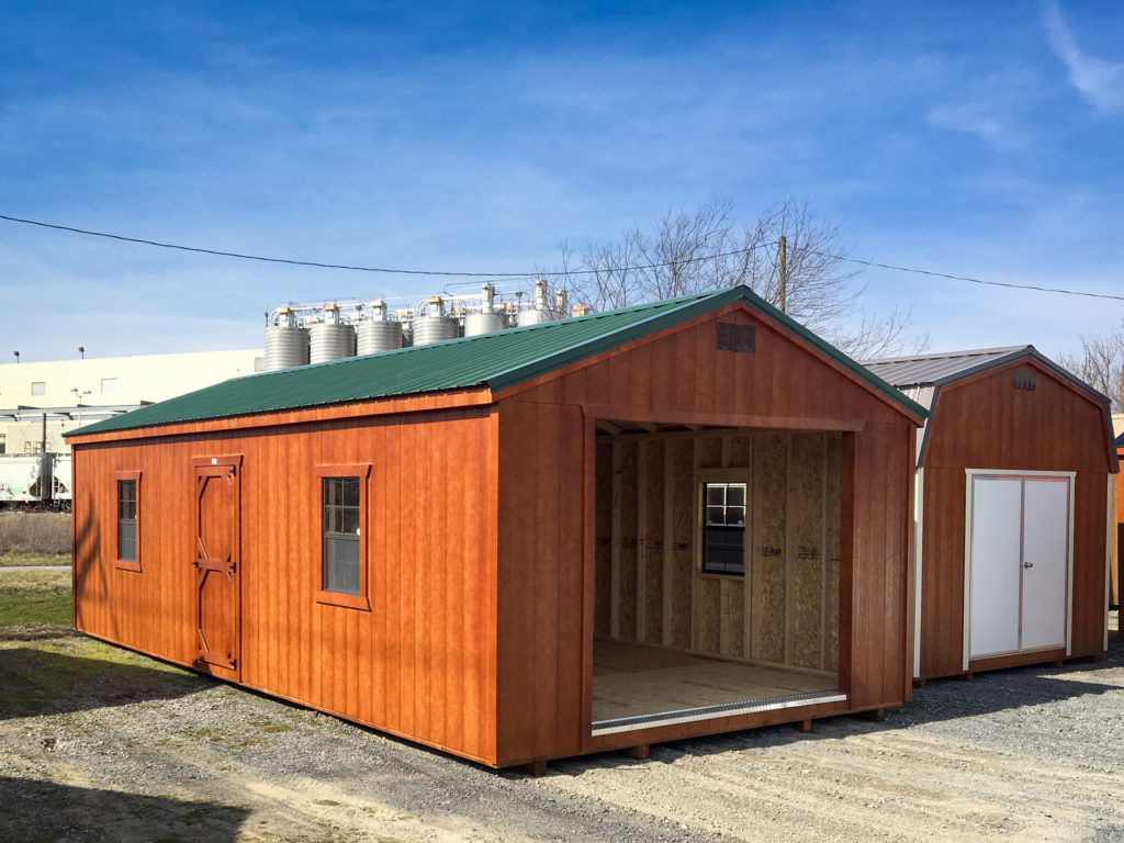 wooden prefab garage with metal roof