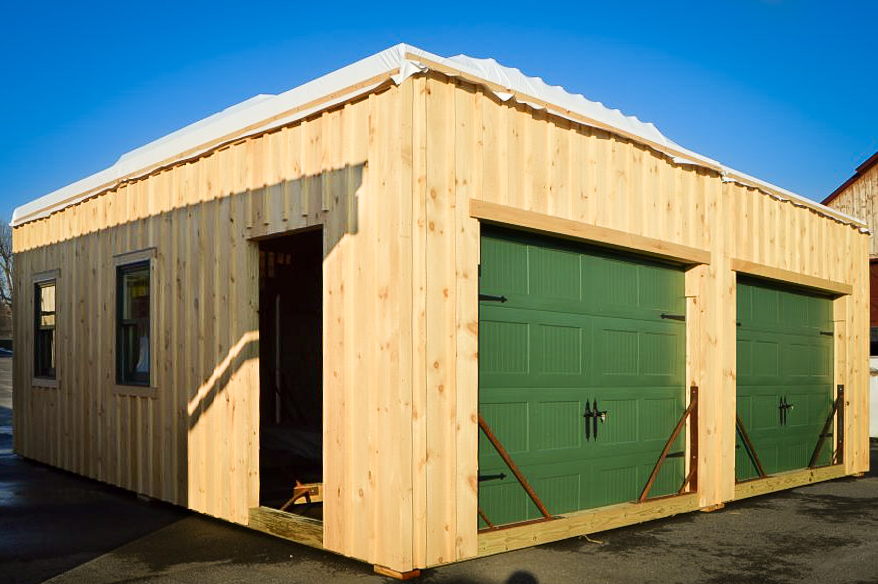 portable garage with wood siding in draper va