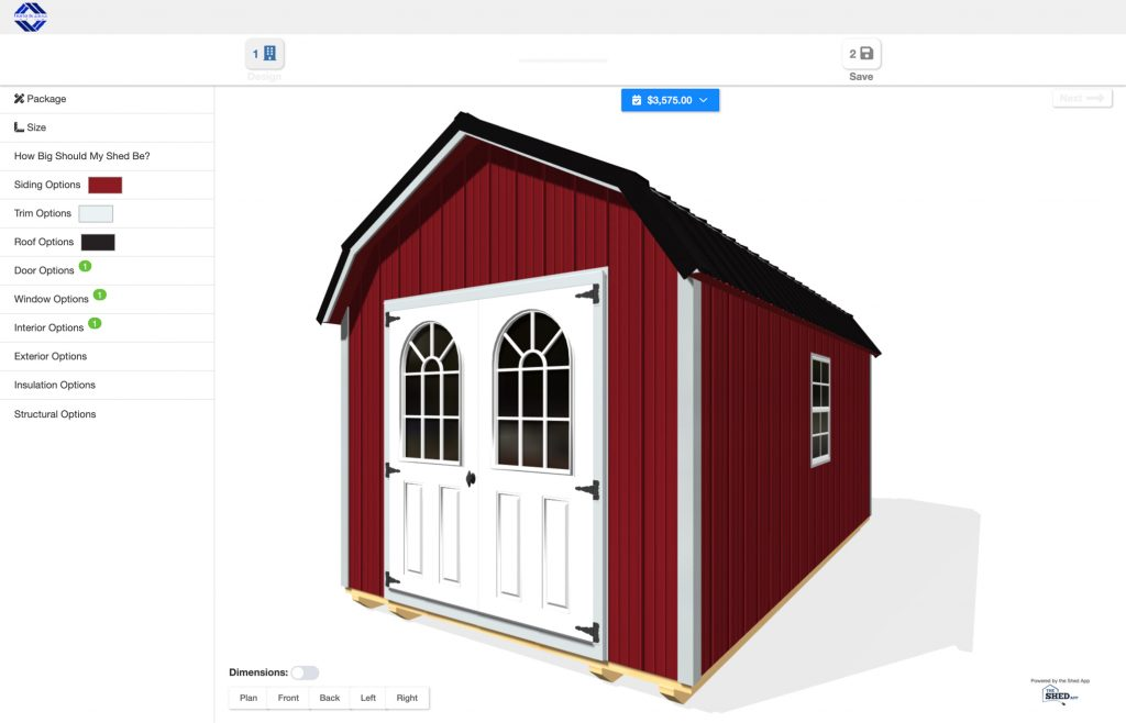 get live 3d pricing on a shed or garage in virginia