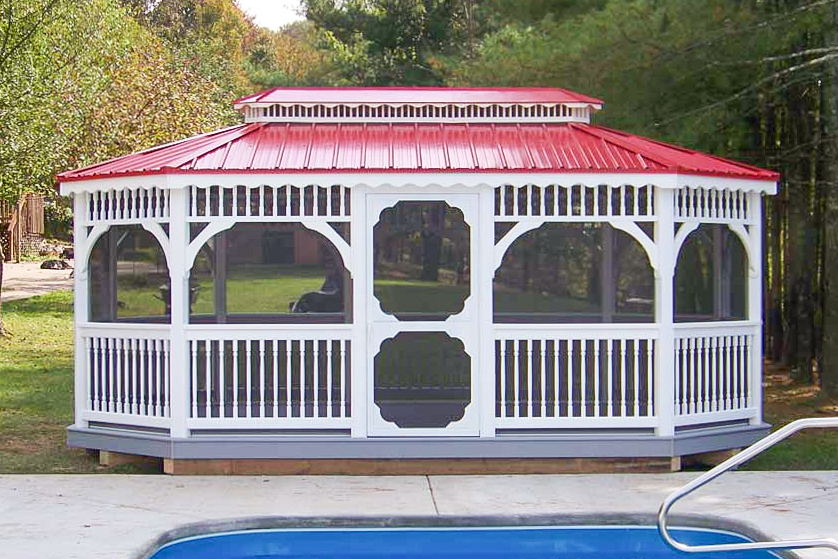 white gazebos with red metal roof for sale in va