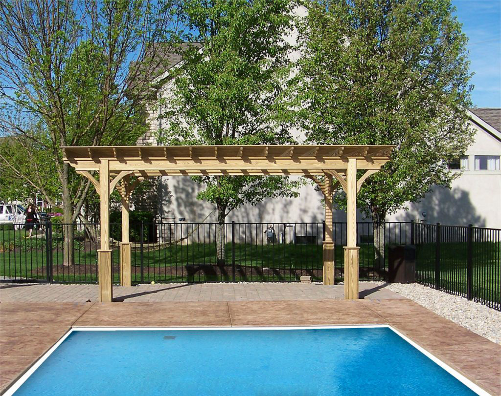 custom pergola by the pool in va