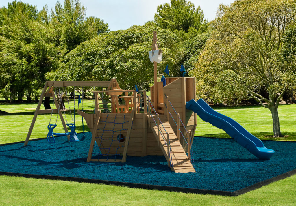 pirate ship wooden swing sets with a slide