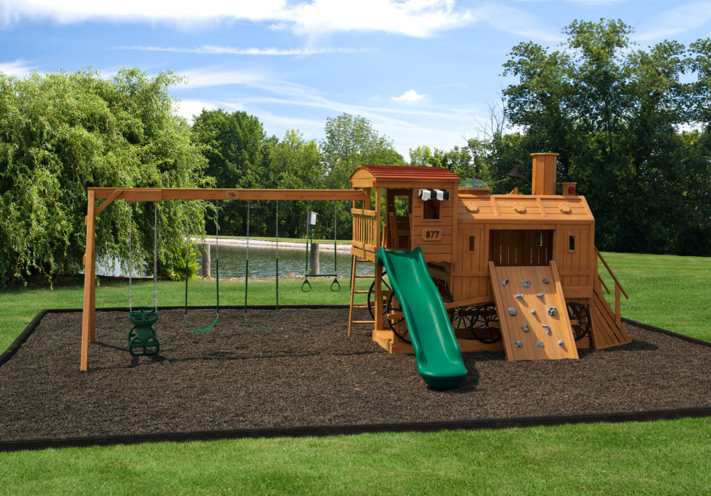 wooden swing sets with train house