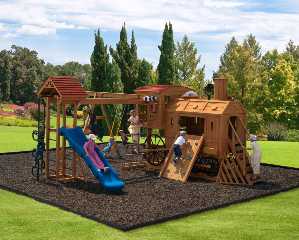 train house wooden swing sets
