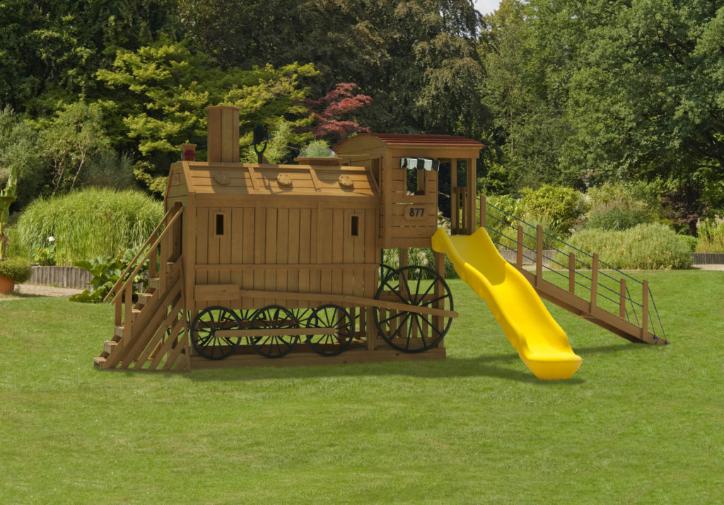 wooden swing sets and train house for sale