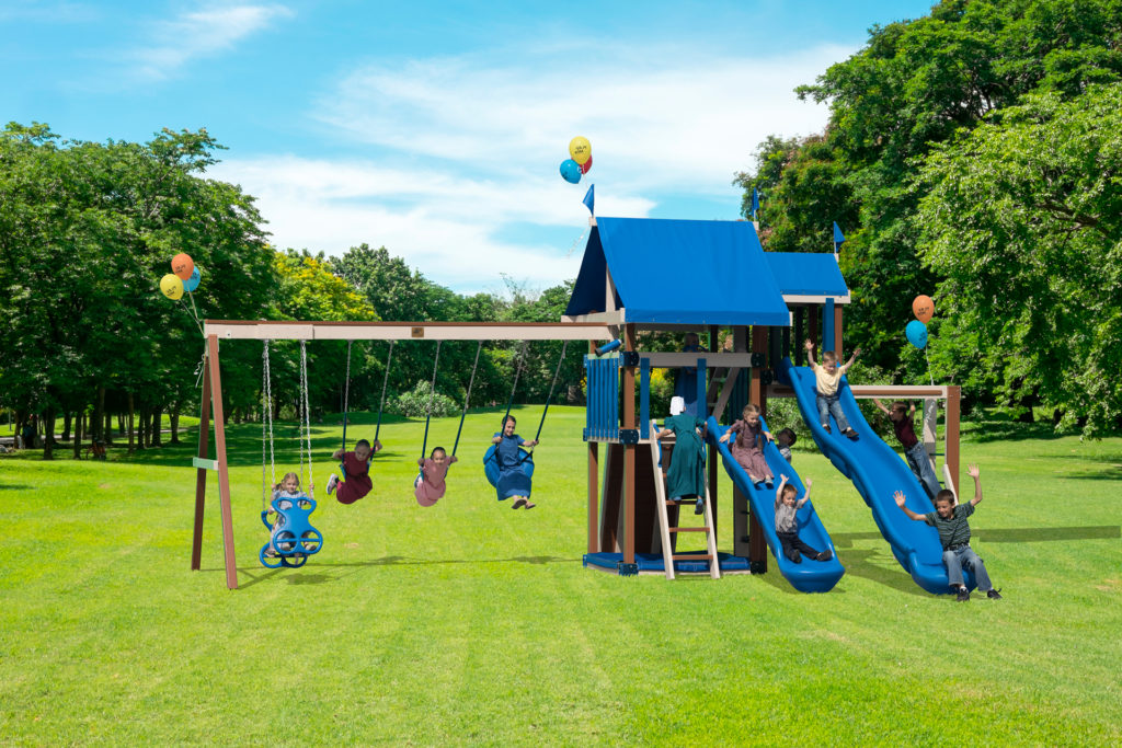 children on swing sets