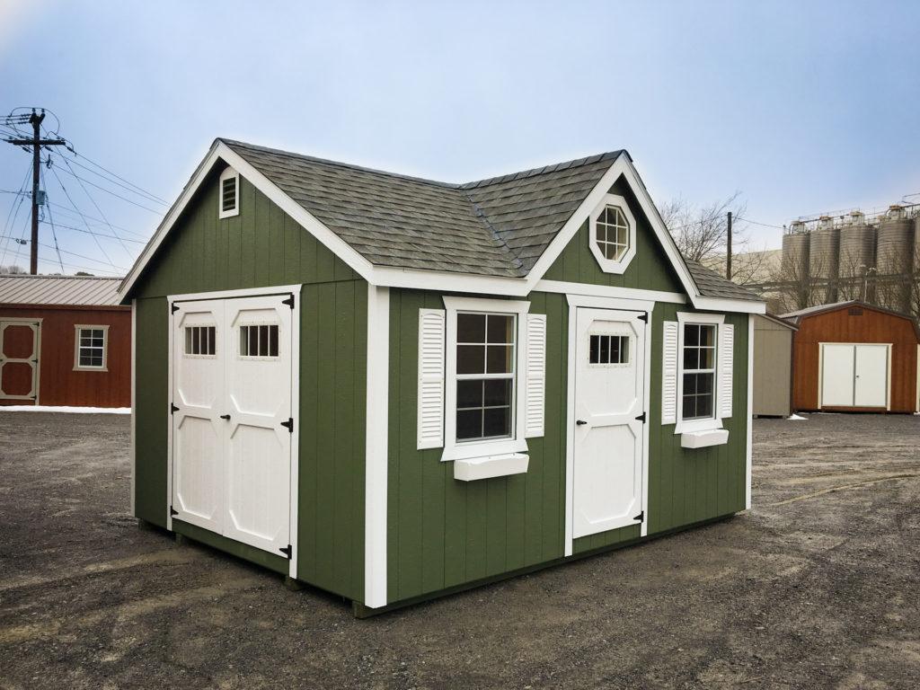 green backyard storage shed