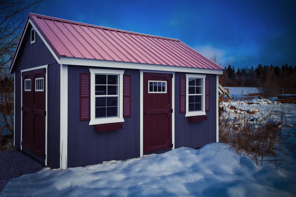 storage shed in the winter